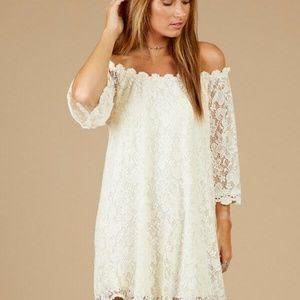 Altar'd State Lace Crochet Dress Off Shoulder Sz S